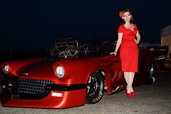 Holly_4294 (Fast an' Bulbous) Tags: girl woman chick babe car vehicle automobile ford thunderbird 55 promodified drag race strip track santa pod england supercharged red dress high heels stockings stilettos long hair legs beauty model people outdoor