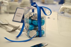Sweet box favour (Kennet House Cakes) Tags: blue wedding silver sweets boxed macaron favour