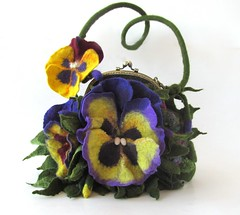 Felted purse - Pansy (GalaFilc) Tags: feltedpurse pansy pansies handbag purse felting feltedhandbag pansybag flower