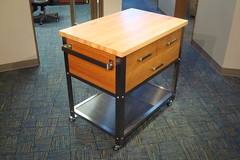 Newer Mahogany Kitchen Cart with Maple top (bbakerdesign) Tags: wood kitchen maple industrial steel cart reclaimed butcherblock