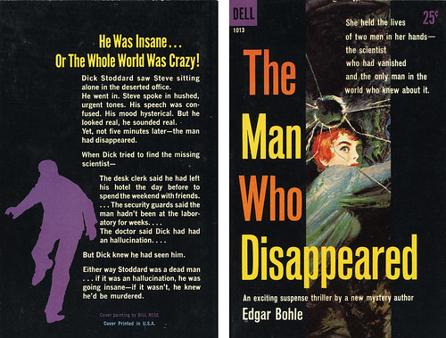 Dell Books 1013 - Edgar Bohle - The Man Who Disappeared (with back)