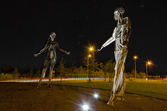 Starlight Giants (Gareth Wray Photography -Thanks = 3 Million Hits) Tags: county uk ireland light vacation sculpture music holiday men tourism metal night giant stars landscape tin photography lights star town belt nikon women iron europe photographer nightscape dancing steel border landmark visit tourist millennium clear trail musical fox orion hd ni sight nikkor northern monuments scape gareth sculptures starry cosmos hdr ulster tinnies tyrone wray lifford strabane tonemapped 18105mm tinnys tinneys d5100 hdfox