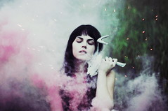 (emmakatka) Tags: pink summer portrait green girl grass fog night dark hair skull twilight eyes smoke deer bomb