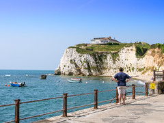 Fort Redoubt (built 1855) on the cliffs above Freshwater Bay on the Isle of Wight (Anguskirk) Tags: uk sea england island bay victorian eu cliffs vectis isleofwight esplanade solent southcoast englishchannel dinghies redoubt freshwaterbay palmerstonfort