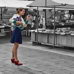 red shoes (pazitri) Tags: amsterdam candid compact compactcamera compactpocketcamera digitri dmctz7 dmczs3 flickr girl holland lady lumix panasonic pocket pocketcamera red shoes street tz7 woman zs3 ©digitri selectivemonochrome partialmonochrome partialblackwhite ©digitri digitri© פז paz pazitri