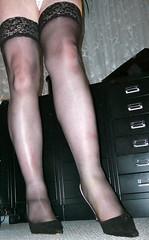helennorthcoast - Black stay-up stockings 02 (helennorthcoast) Tags: stockings highheels legs cd tights cast bandage crossdresser splint sprain