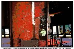 ROSTIGER EISENTRÄGER (CHRISTIAN DAMERIUS - KUNSTGALERIE HAMBURG) Tags: orange berlin rot silhouette modern strand deutschland see licht stillleben dock gesicht meer wasser foto fenster räume hamburg herbst felder wolken haus technik blumen porträt menschen container gelb stadt grün blau ufer hafen fluss landungsbrücken wald nordsee bäume ostsee schatten spiegelung schwarz elbe horizont bilder schiffe ausstellung 2012 schleswigholstein figuren frühling landschaften dunkelheit wellen häuser kräne rapsfelder fläche acrylbilder hamburgermichel realistisch 2013 nordart acrylmalerei expressionistisch acrylgemälde auftragsmalerei bilderwerk auftragsbilder kunstausschreibungen kunstwettbewerbe galerienhamburg cdamerius malereihamburg