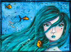 Mermaid (DariaPn) Tags: art collage book mixed mixedmedia journal acrylics artjournal