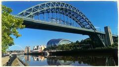 No fog on the Tyne (Iam Burn) Tags: bridge blue autumn sky reflection water river newcastle landscape baltic sage tyne gateshead september tynebridge mobilephone tyneside newcastleupontyne quayside htc rivertyne snapseed htcone