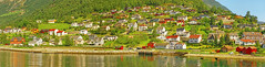 Fjord Village Panorama (Charn High ISO Low IQ) Tags: travel cruise trees summer vacation panorama house mountain lake norway forest relax landscape hotel cabin village cottage resort fjord hillside scandinavia flam aurland summerbreak handstitch dxoopticspro flaam nikefexpro canon6d