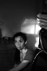 15/52 (a.n.decker photography) Tags: autumn light portrait bw white black window lines sunshine self hair 50mm eyes nikon october shadows bokeh f14 curly goldenhour d60 nikond60 andecker