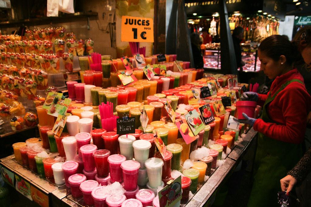 Les jus de fruits du mercat de la Bocqueria