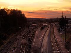 Bahnhof Treysa (HDR) (Oliver Deisenroth) Tags: tracks zug bahnhof trains trainstation brücke bahn gleise hdr züge tonemapping olympusstylus1