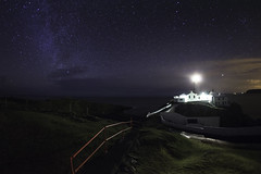 Fanad Lighthouse (Voimäki) Tags: longexposure lighthouse steps nighttime nightsky donegal milkyway fanad loughswilly starsinthesky redrailings march2014