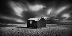 Red Roof (Bill Allen.) Tags: longexposure red blackandwhite bw white black clouds mono bill nikon long exposure allen harbour rye hut nd minimalism minimalist density neutral neutraldensity blackandwhite longexposure d300s neutraldensity billallen