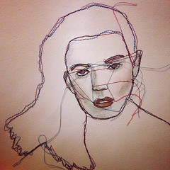 #sayloulou #embroidery #stitch #drawing #illustration #pencil #watercolour #portrait (sparklymouse) Tags: square squareformat hudson iphoneography instagramapp uploaded:by=instagram