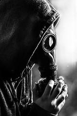 Hinding behind a gas mask (Robin Antonsen Photography) Tags: school blackandwhite bw oslo contrast photoshop canon studio photography norge student classroom picture clarity cover stuff gasmask skole ep hansa bilde cameraraw dlite elinchrome klasserom gassmaske 5dm2 5dmii canonnorway tamronandcanon50mm