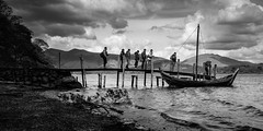 Eight Men In A Boat (S Howlett) Tags: blackandwhite lake boat jetty lakedistrict cumbria derwentwater fell skiddaw blackandwhitephotography blencathra landscapephotography woodenjetty giftofthegael