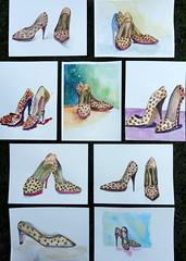 Leopard shoes together 02 / sapato de oncinha (Dona Mincia) Tags: art fashion watercolor painting paper arte pair moda study heel salto par pintura aquarela calado leopardshoes perua sapatodeoncinha