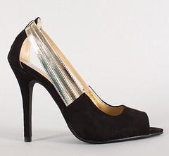 "metallic strap faux suede peep toe blk • <a style=""font-size:0.8em;"" href=""http://www.flickr.com/photos/64360322@N06/16163960578/"" target=""_blank"">View on Flickr</a>"