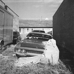 1972 Road Runner (dvlmnkillatron) Tags: bw 120 6x6 tlr film car analog mediumformat square weeds rust headlights grill vehicle torn medium format trailer 1972 yashica roadrunner musclecar carcover selfdeveloped yashicamat124