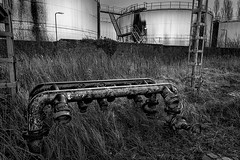 'Petrol' 05 (jefvandenhoute) Tags: blackandwhite industry monochrome lines photoshop nikon mood belgium belgique shapes belgië antwerp antwerpen industrialarcheology antwerpenzuid nikond800 photoshopcs6