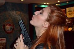 Femme Fatale (@brunobragante) Tags: brazil portrait woman girl brasil photoshop studio death lights nikon gun shadows photoshoot retrato smoke femme profile teenagers redhead teen pistol teenager femmefatale guns gabriela psd fatale ruiva arma d3100 nikond3100
