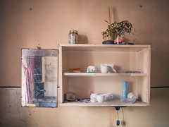 mirror mirror on the wall (realnasty) Tags: urban house home cup wall prime mirror flat poland olympus shelf container mug mistletoe dishes exploration omd ruined lodz urbex adandoned m43 mft microfourthirds tanement