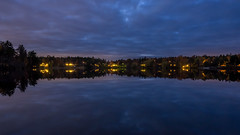 Bedtime (Jens Haggren) Tags: olympus em1 lake water sky clouds reflections evening lights trees nacka sweden