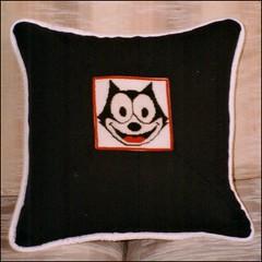 Felix the Cat pillow (Needleloca) Tags: pillows needlepoint gift 1997 ribbet 2016 felixthecat