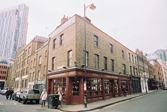 English Restaurant (goodfella2459) Tags: street colour london english history film analog 35mm restaurant nikon crispin 50 whitechapel milf f4 spitalfields c41 brushfield cinestill