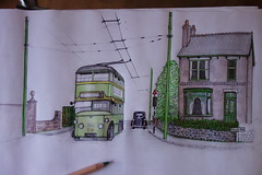 Sketch of a Wolverhampton Trolleybus in 1948 Pic/2 (Lady Wulfrun) Tags: 1948 sketch drawing corporation trolleybus 219 wolverhampton wct jw4319