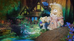 (Allan Saw) Tags: forest evening river girl teddy bear dusk house cottage
