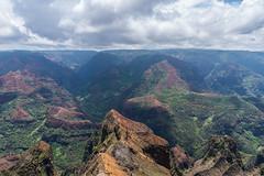 Waimea Canyon (Lena and Igor) Tags: usa us kauai island hawaii waimea canyon travel scenic landscape mountains clouds shadows sunspots rocks outlook colorful dslr nikon d5300 nikkor 18300 zoom telephoto
