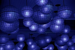 New Orleans Blues ... (sswj) Tags: blue neworleans neworleansblues nola louisiana composition frenchquarter bluelights dslr fullframe nikon nikkor28300mm availablelight existinglight night streetphotography nightphotography scottjohnson atmosphere abstract abstractreality balls globes geometric raw