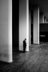 Man in black (fsanty) Tags: street uk people london monochrome silhouette darkroom blackwhite candid streetphotography smartphone fujifilm contract lightroom x100 vsco