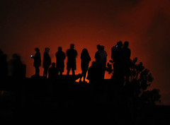 Volcano Watchers (Sea Moon) Tags: red sky people orange lake fire hawaii lava glow silhouettes crater caldera phones kilauea halemaumau spatter