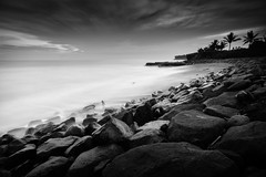 Black And White Seseh (eggysayoga) Tags: ocean longexposure sunset sea blackandwhite bw bali cloud seascape beach rock indonesia lens landscape seaside rocks asia fuji angle ss wide hard filter le shore 09 lee nd slowshutter cs fujifilm f2 12mm ultra bnw bower pantai graduated ncs f20 gnd canggu samyang seseh xt1 rokinon bigstopper haidand1000