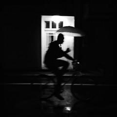 thunderclap (tabiwallah) Tags: blackandwhite monochrome rain bicycle umbrella square tokyo mood squareformat bnw yanaka hipstamatic