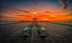 Penarth Sunrise (technodean2000) Tags: uk sea sky colour water wales sunrise coast pier nikon outdoor south cardiff pavilion penarth lightroom d610
