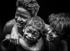 Happiness.. (nshrishikesh) Tags: holi 2016 bnw blackandwhite blackandwhitephotography monochrome mono portrait portraits friendship photography photographer photowalk happiness childtren childrenoftheworld childhood 121clicks photograph