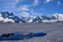 Lacs enneigs Chamonix Mont Blanc Snowy lake (CHAM BT) Tags: neige nv eau fonte reflet montagne aiguille sommet glacier bleu pointe alpes montblanc rando ascenison nuage snow water melt reflexion mountain needle summit blue peak alps hike walk ascent cloud france