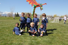 Group picture with the dragon kite 1 (Aggiewelshes) Tags: ben soccer may sean peter olsen cailin grouppicture 2013 dragonkite teamdragons