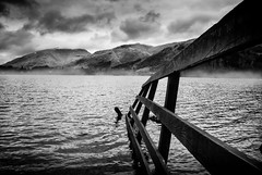 Grasmere - #Explored (asheers) Tags: mist mountain lake monochrome misty landscape mono moody grasmere lakedistrict silverefex