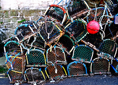 Lobster Pots (maccate) Tags: yorkshire north pots lobster staithes buoyant