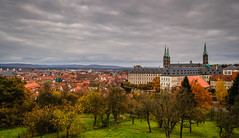 View of Bamberg Cathedral and Old Town - Germany (mbell1975) Tags: old cloud fall abbey germany bayern deutschland town view cathedral cloudy dom kirche eu chapel bamberg german altstadt oldtown deutsch kirke kapelle bayer bamberger