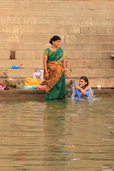 morning bath (lethologically) Tags: people india heritage history tourism water sunrise buildings river temple boat asia buddha religion silk places blessing holy varanasi ritual hindu hinduism oldcity ganges sarnath riverbanks ghat holywater northindia historicalsites oldcities heritagesites incredibleindia