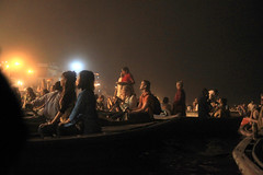 watching from the water (lethologically) Tags: people india water festival river evening boat events religion event varanasi ritual hindu hinduism puja durgapuja ganges riverbanks northindia incredibleindia