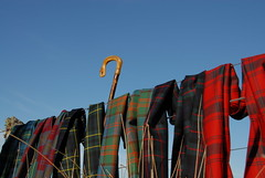 Malcolm Mowat's Scarves on a stock fence. (Malcolm Mowat's: Quality Scottish Products) Tags: blue sky wool fence reeds advertising scotland highlands malcolm handmade scottish craft lichen scarves horn craftsman luxury worsted crook tartan mowats wwwmalcolmmowatscom