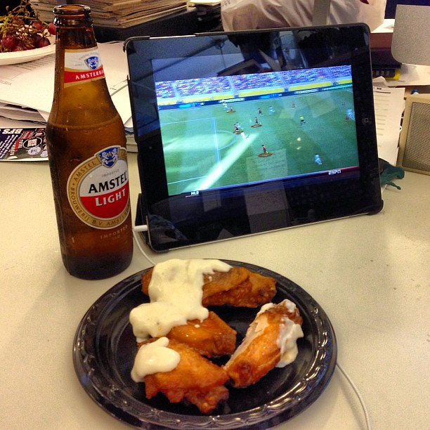 Beer, wings, Italy vs Spain. Id call this a good work day! #agencylife #espn #forza #azzurri